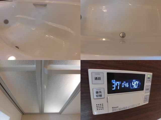 浴槽と扉の水垢除去